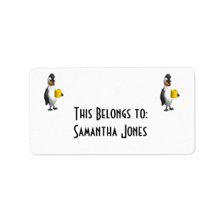 penguin drinking coffee label