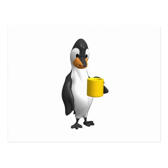penguin drinking coffee postcard