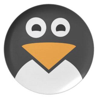 Penguin Face Melamine Plate