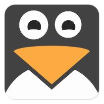 Penguin Face Square Sticker