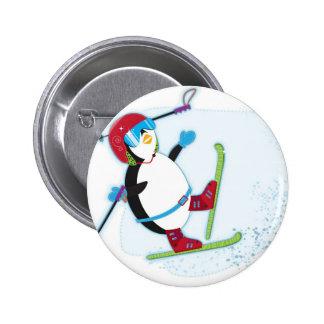 Penguin falling on ski 2 inch round button