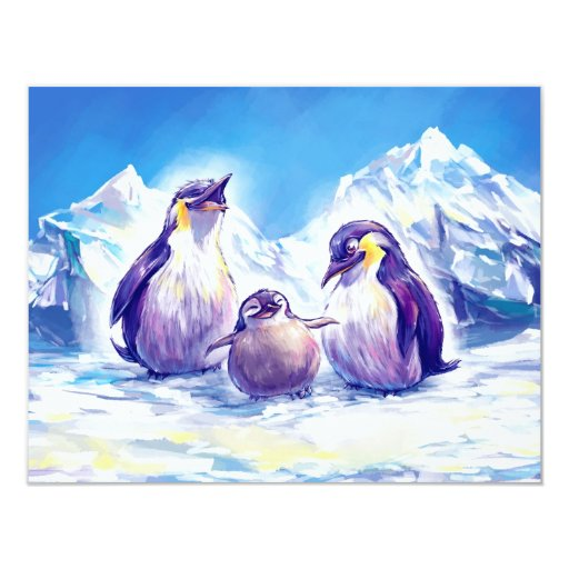 "Penguin Family 4.25"" X 5.5"" Invitation Card"