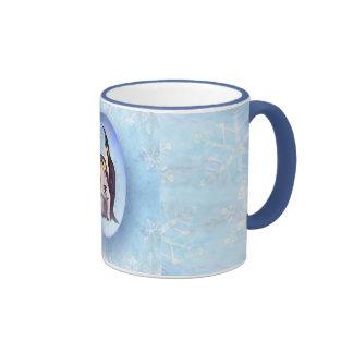 PENGUIN FAMILY BUBBLE by SHARON SHARPE Ringer Coffee Mug