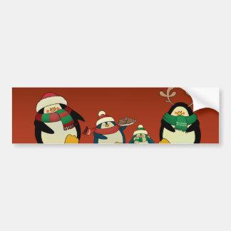 Penguin family bumper sticker