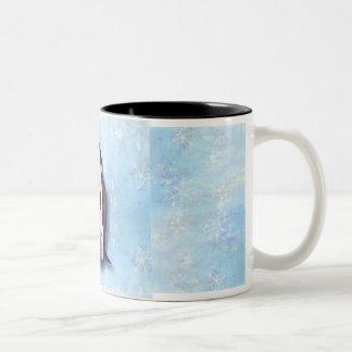 PENGUIN FAMILY  by SHARON SHARPE Two-Tone Coffee Mug