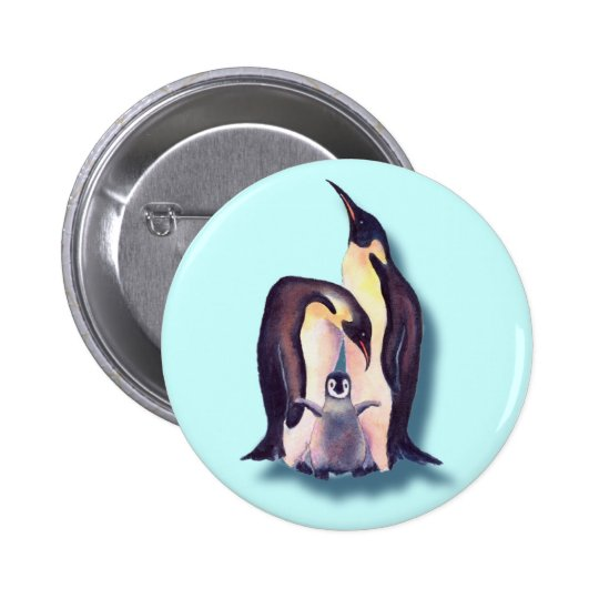 PENGUIN FAMILY by SHARON SHARPE Pinback Button