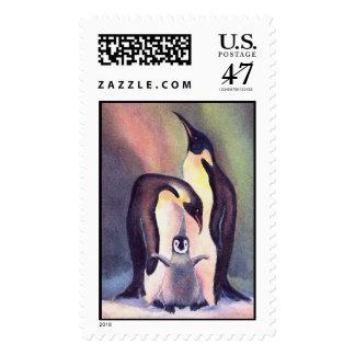 PENGUIN FAMILY by SHARON SHARPE Stamp