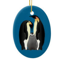 penguin family ceramic ornament