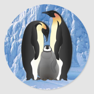 penguin family classic round sticker