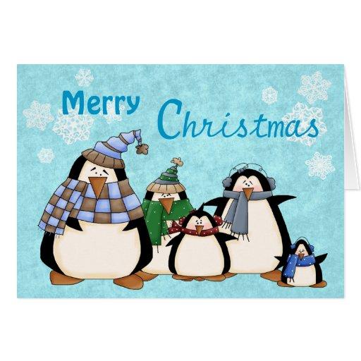 Penguin family custom christmas card zazzle for Penguin christmas cards homemade