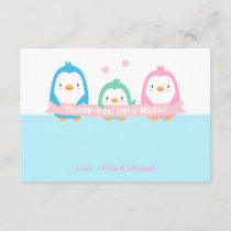 Penguin Family Cute Baby Shower Thank You Cards