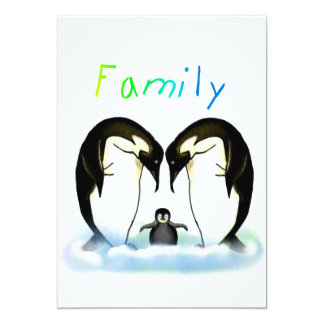Penguin Family Girl's Invitation