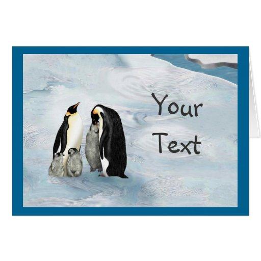 Penguin family greeting card zazzle for Penguin christmas cards homemade