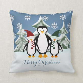 Penguin Family Merry Christmas Throw Pillow