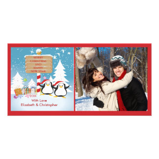 Penguin Family Of 2 Holiday Christmas Photo Card