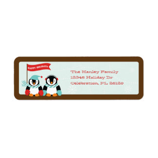Penguin Family of 2 Holiday Label