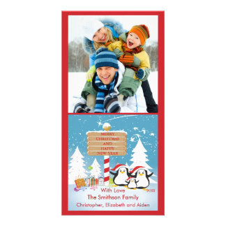 Penguin Family Of 3 Holiday Christmas Photo Card
