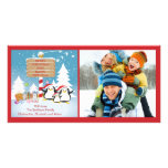 Penguin Family Of 3 Holiday Christmas Photo Card