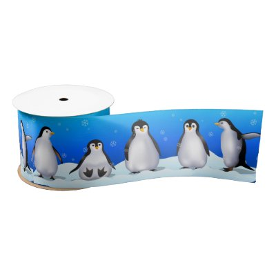 Penguin Family Satin Ribbon
