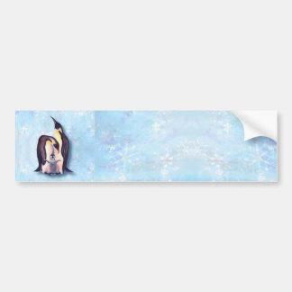 PENGUIN FAMILY & SNOW by SHARON SHARPE Car Bumper Sticker