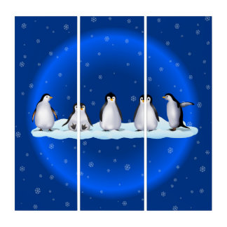 Penguin Family Triptych