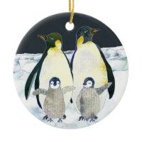 Penguin Family Winter Christmas Ornament ornament