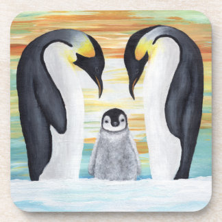 Penguin Family with Baby Penguin Beverage Coaster