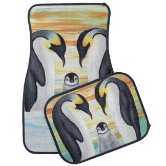 Penguin Family with Baby Penguin Car Floor Mat