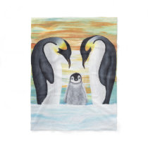 Penguin Family with Baby Penguin Fleece Blanket