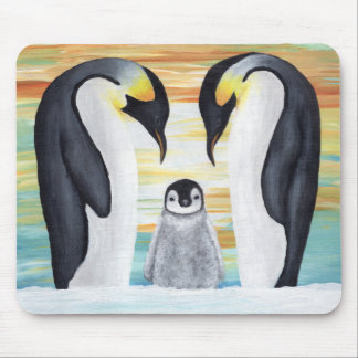 Penguin Family with Baby Penguin Mouse Pad