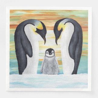 Penguin Family with Baby Penguin Paper Dinner Napkin