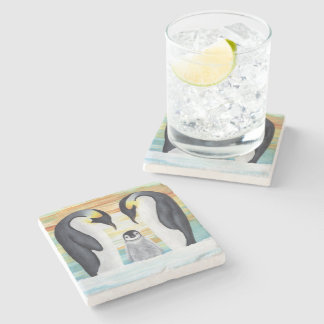 Penguin Family with Baby Penguin Stone Coaster