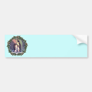 PENGUIN FAMILY & WREATH by SHARON SHARPE Bumper Sticker