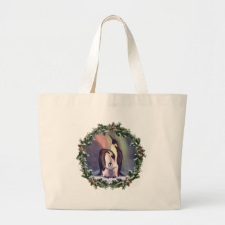 PENGUIN FAMILY & WREATH by SHARON SHARPE Large Tote Bag