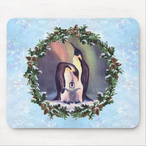 PENGUIN FAMILY & WREATH by SHARON SHARPE Mouse Pad