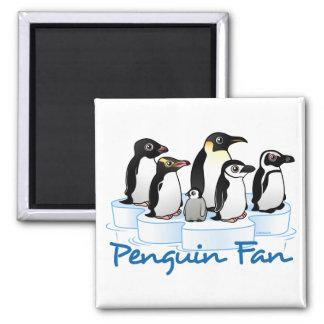 Penguin Fan 2 Inch Square Magnet