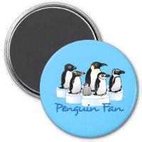 Penguin Fan Round Magnet
