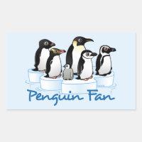 Penguin Fan Rectangle Sticker