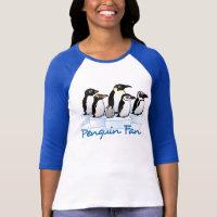 Penguin Fan Ladies Raglan Fitted T-Shirt