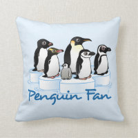 Penguin Fan Cotton Throw Pillow