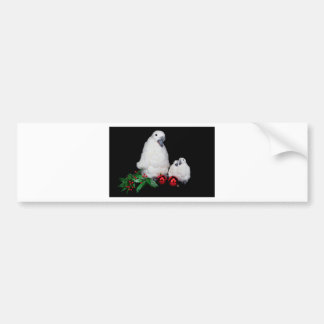 Penguin figurines as family with christmas balls bumper sticker