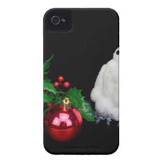 Penguin figurines  with red christmas ball iPhone 4 Case-Mate case