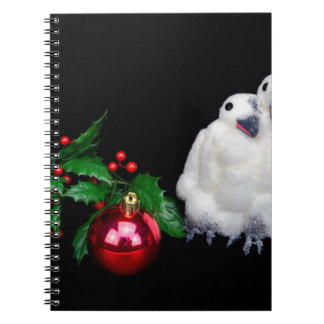 Penguin figurines  with red christmas ball notebook