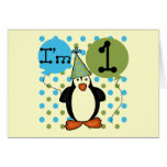 Penguin First Birthday Tshirts and Gifts Greeting Card
