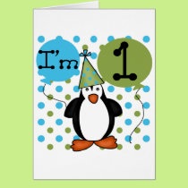 Penguin First Birthday Tshirts and Gifts Card