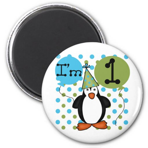 Penguin First Birthday Tshirts and Gifts Refrigerator Magnets