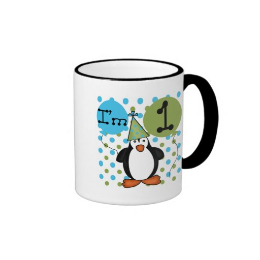 Penguin First Birthday Tshirts and Gifts Ringer Coffee Mug