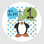 Penguin First Birthday Tshirts and Gifts Round Stickers