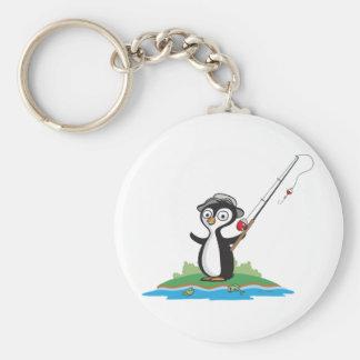 Penguin Fishing Basic Round Button Keychain