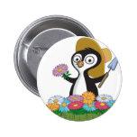 Penguin Flower Gardener Buttons